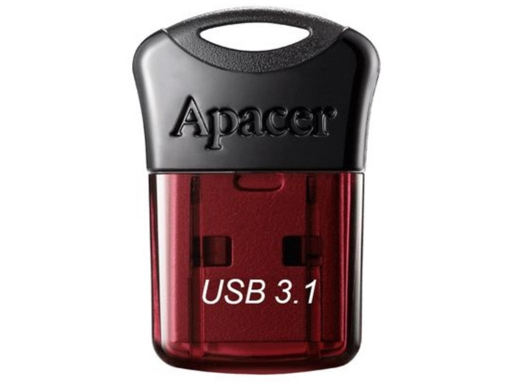 Flash Drive pentru automobil 64GB USB 3.1 Apacer AH 157, Black_Red Ultra compact